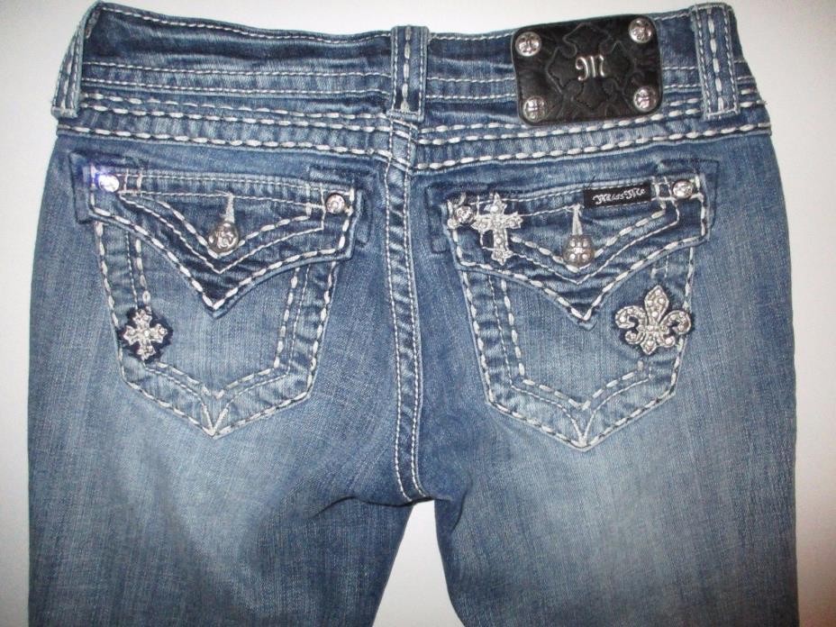 MISS ME Easy Capri Distressed Jeans sz 25 EUC JE5369EP4