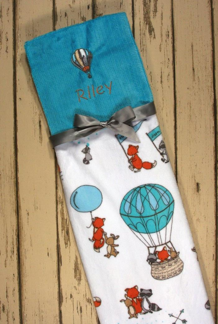 Personalized minky adorable hot air balloon print baby blanket
