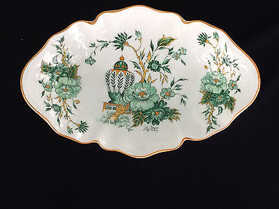 Crown Staffordshire Kowloon Relish Dish England Green Yellow White