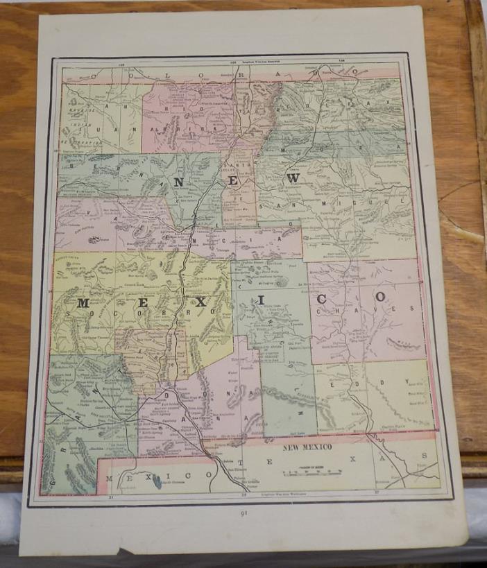 1891 Antique CRAM Map///NEW MEXICO