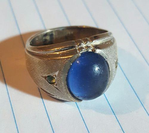 Vintage Sterling Silver .925 SZ 8.25 Cigar Band w/ Blue Acrylic Stone. 8.7g