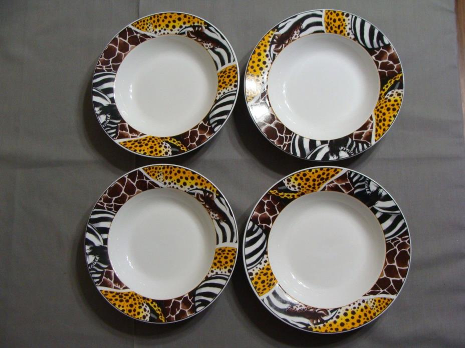 4 FC Porcelain Soup Bowls In Animal Safari Pattern, Cheetah, Zebra & Giraffe