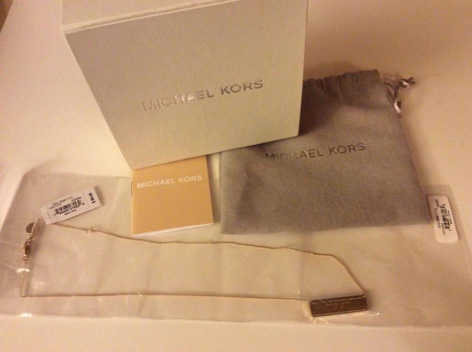Michael Kors Gold Tone Signature Necklace NWT, original Box, Dust Bag $95