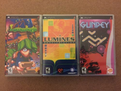 3 Puzzle Game PSP Lot (Lemmings, Lumines, Gunpey) FREE SHIPPING!