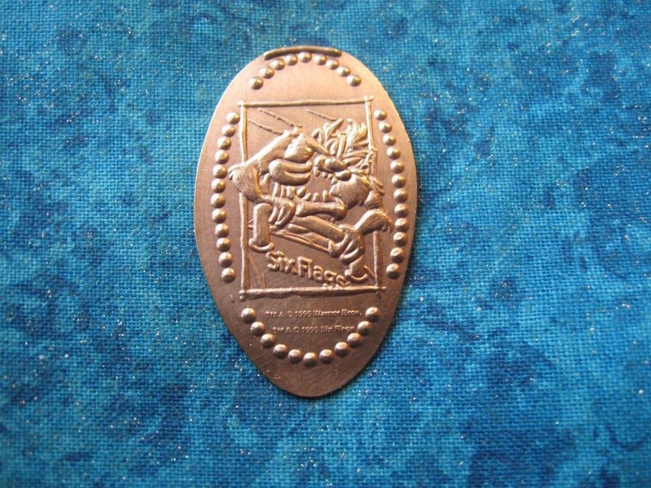 TAZ SIX FLAGS ROLLERCOASTER COPPER Elongated Penny Pressed Smashed 18