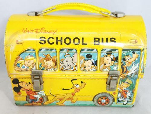 VTG Aladdin Industries Walt Disney 'School Bus' Metal Lunch Box