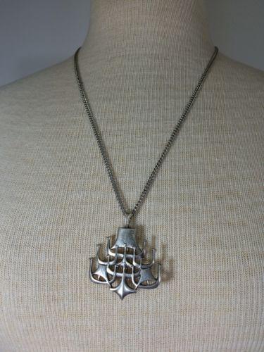 Vintage D-A David Andersen Sterling Silver Ship Necklace Pin