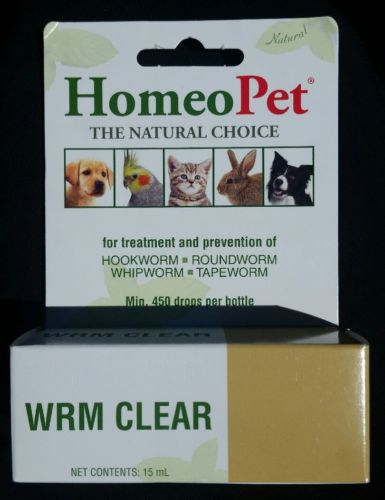 HomeoPet WRM Clear 450 drops Brand New Hook, Round, whip & Tapeworm dog cat