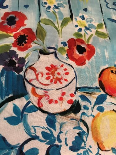 R. GOLD MULTICOLORED FRUIT VASE DESIGN COTTON FABRIC REMNANT, 28