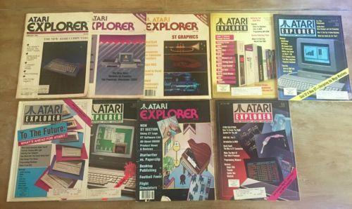 Vintage Lot of 9 Atari Explorer Video Games Magazines 1985 1986 1987