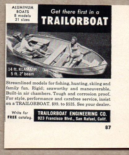 1956 Vintage Ad Trailorboat Aluminum Boats San Rafael,CA