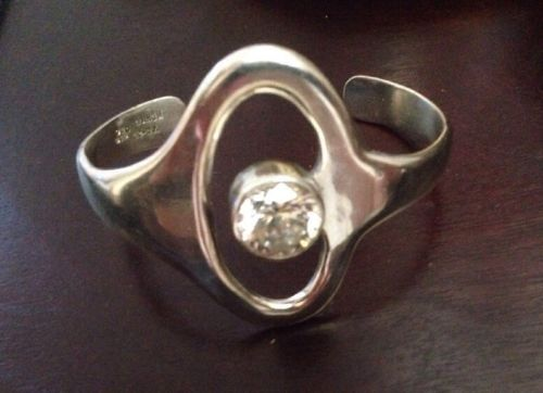 Silver Cuff Bracelet,Texaco 950 Silver And Crystal Abstract Bracelet Beautiful!!