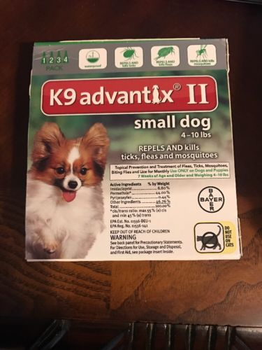 Bayer K9 advantix II 4 Pk 4 Month Supply For Small Dogs  4 - 10lbs Flea And Tick