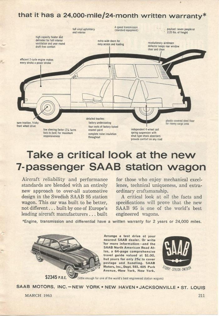 1963 SAAB 7-PASSENGER STATION WAGON AUTOMOBILE ORIGINAL AD