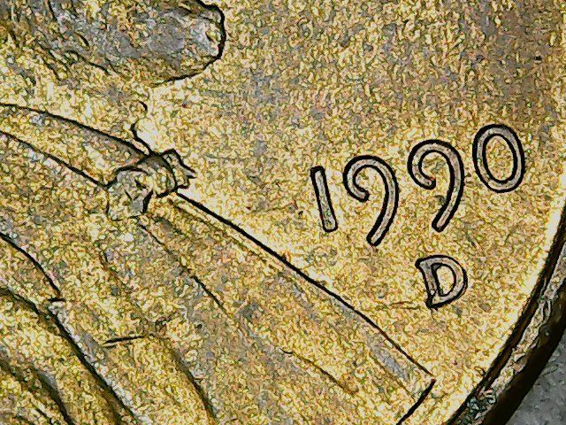 1990D Lincoln cent, double