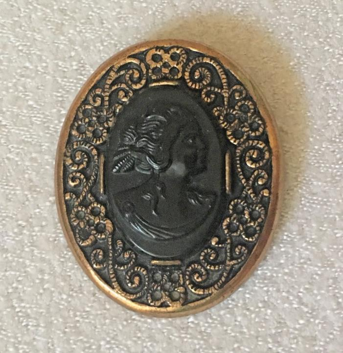 Antique Vintage Victorian Gold Tone & Black Cameo Brooch Pin 1898 by Attleboro