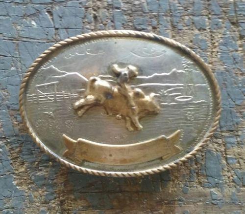 Vintage Tony Lama German Silver BULL RIDER Western Belt Buckle