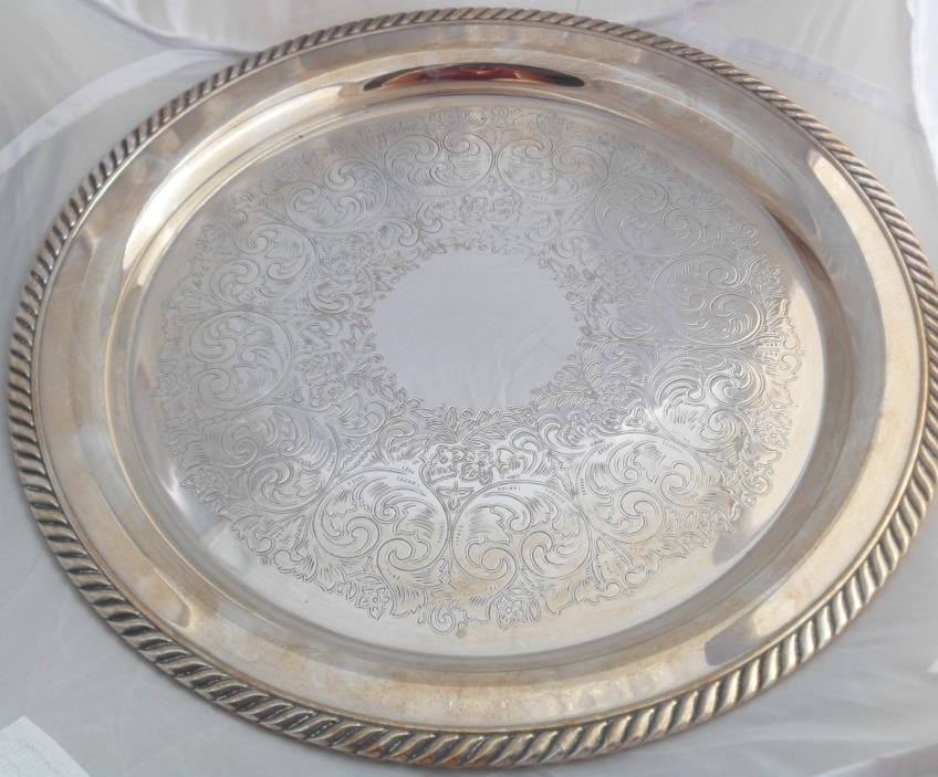 WM A Rogers Silver Plate Etched Round Tray