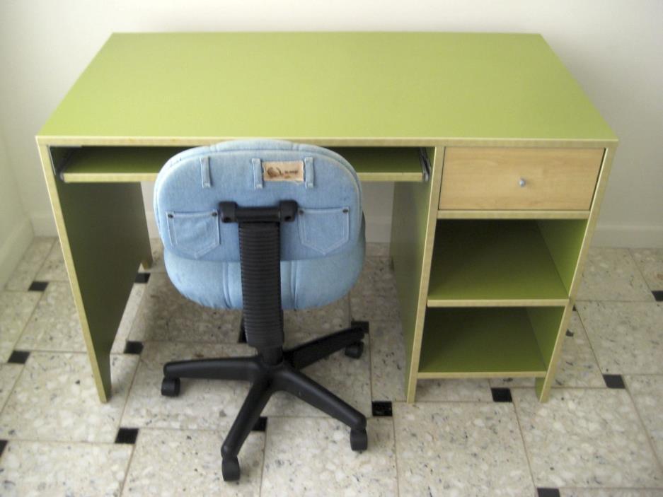 Ikea Computer Green Desk and Ikea Denim Hydraulic Chair