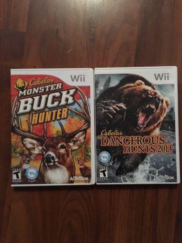 Lot Of 2 Nintendo Wii Cabela's Games: Monster Buck Hunter & Dangerous Hunts 13'