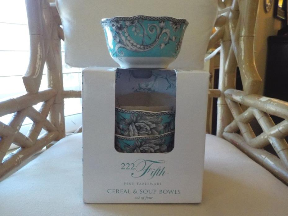 222 FIFTH ADELAIDE TURQUOISE & BLACK BIRD TOILE SET OF 4 CEREAL & SOUP BOWLS