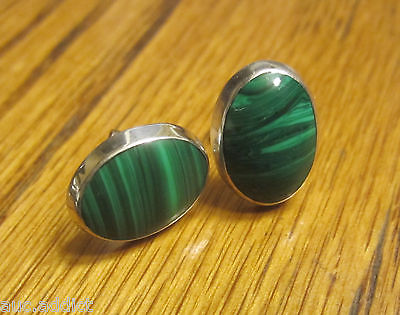 Vintage Mexican TF-26 Sterling Silver & Malachite Cabochon Earrings Southwestern