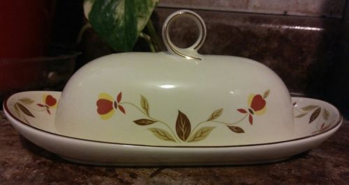 Hall Jewel Tea Autumn Leaf 1/4 lb Ring Covered Butter Dish Limited Edition MiNt