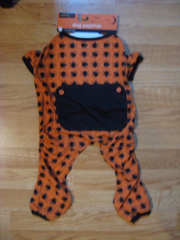Dog Pajamas Orange with Black Spiders Size M