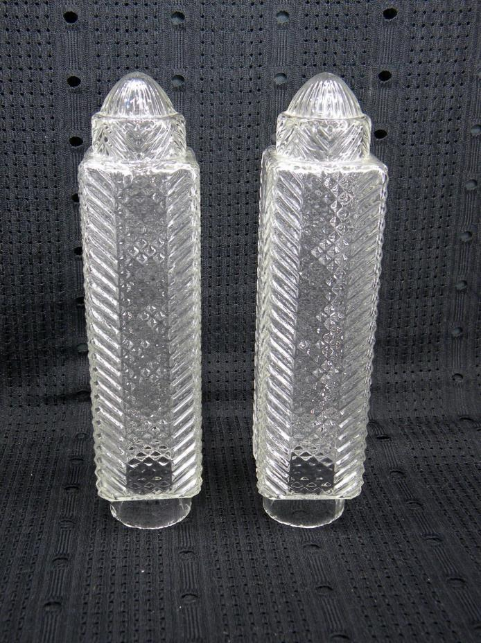Art Deco Matched Pair Clear Glass Torpedo Skyscraper Bullet Lamp Shades