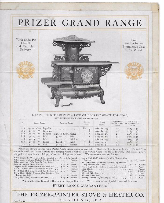PRIZER-PAINTER STOVE & RANGE  CATALOG PAGES READING PA. GRAND RANGE