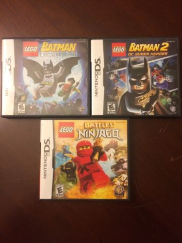 Nintendo DS LEGO Lot 3 games Batman, Batman 2, Battles Ninjago TESTED COMPLETE