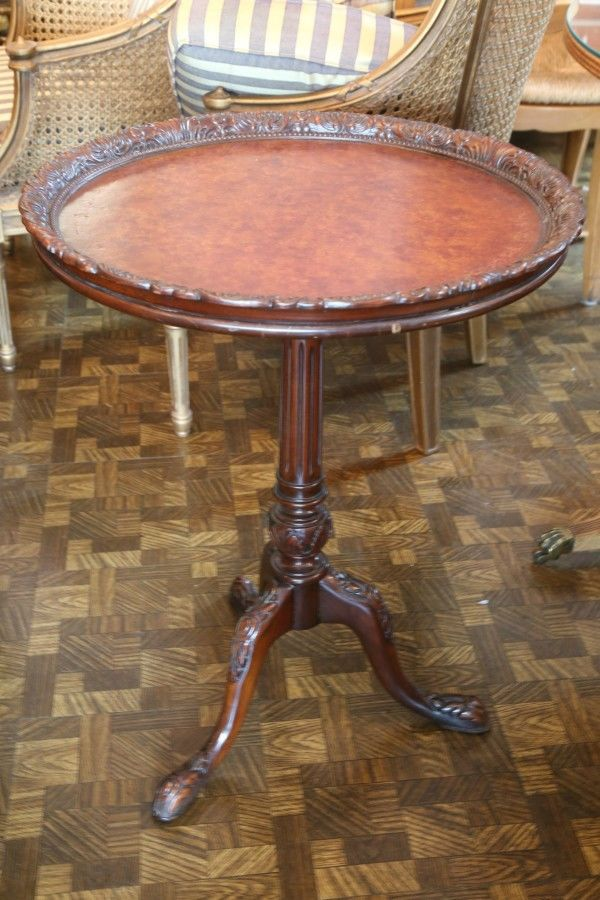 Handsome Vintage Leather Top Carved Piecrust Table