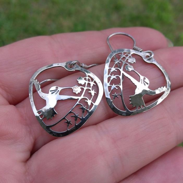 Signed Wild Bryde Hummingbird  Earrings 925 Sterling Silver