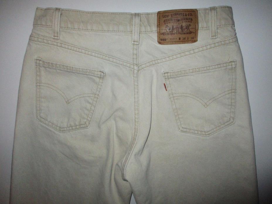 LEVI'S 550 Orange Tab Relaxed Fit Tan Men's Jeans Tag sz 34x36 (32x36) USA