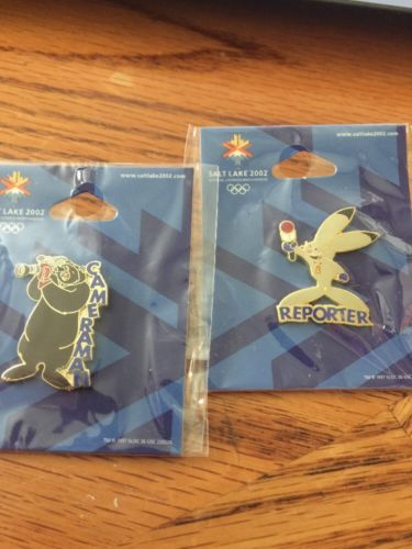 Salt Lake 2002 Winter Olympics Mascot Cameraman And Reporter Pins