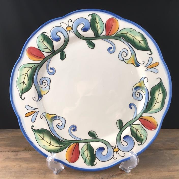 Fitz & Floyd Ricamo Blue Orange Vines Green Leaves 1 Dinner Plates Blemished