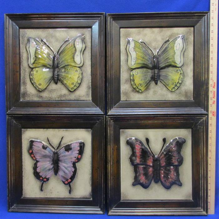 Butterfly Tile Art Wall Hanging Framed Pictures Pottery Ceramic Metal Frames