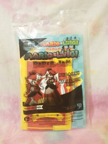 Mario and Luigi Paper Jam BUILD-A-PEACH Toy 2016 Sonic Fast Food Wacky Pack