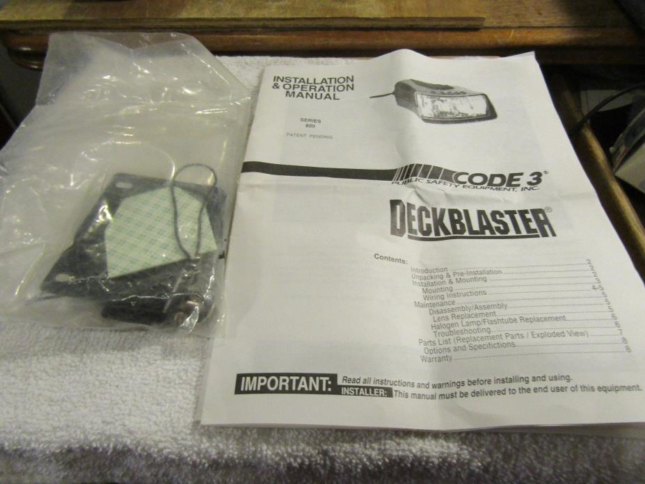 Code 3 DeckBlaster Flashing Dash Deck Halogen Lamp 8000 Mounting Hardware Manual