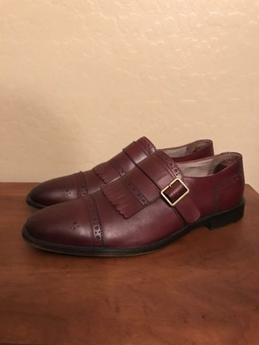 Banana Republic Elijah Italian Leather Kiltie Shoe $168 SZ 11 M Burgundy Cap Toe