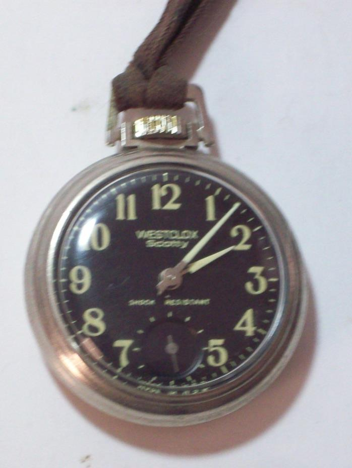 Westclox Scotty luminious Mech-winding Pocket Watch black face w/white Shock res
