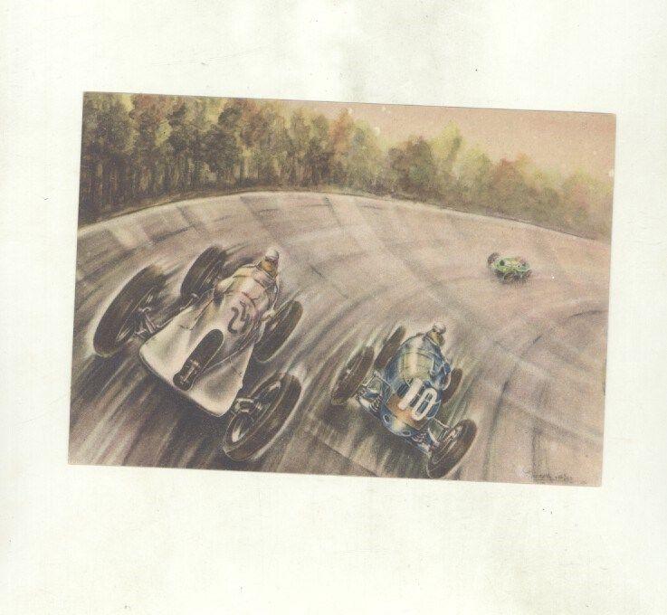 1936 Riley Barnato Hassan Brooklands Race Olyslager Art ORIGINAL Postcard ww8931