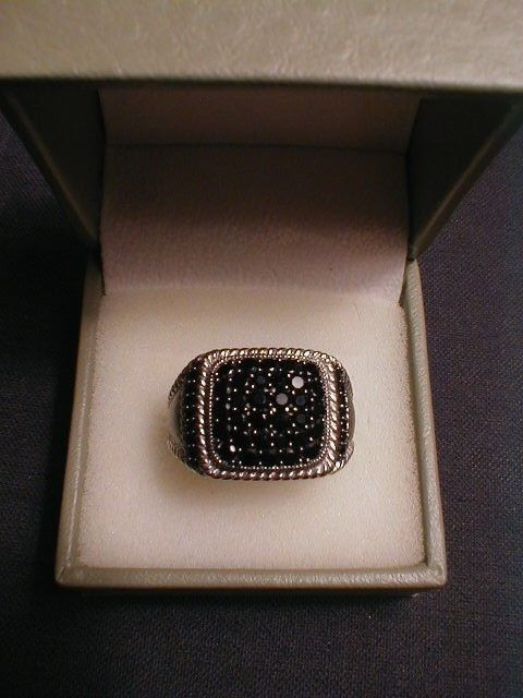 Judith Ripka Sterling Silver 1.90 cttw Black Spinel Pave Ring - Size 10