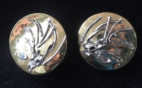 Vintage Ruth Cranfield Artisan Metal Earrings Gold Abstract Modernist