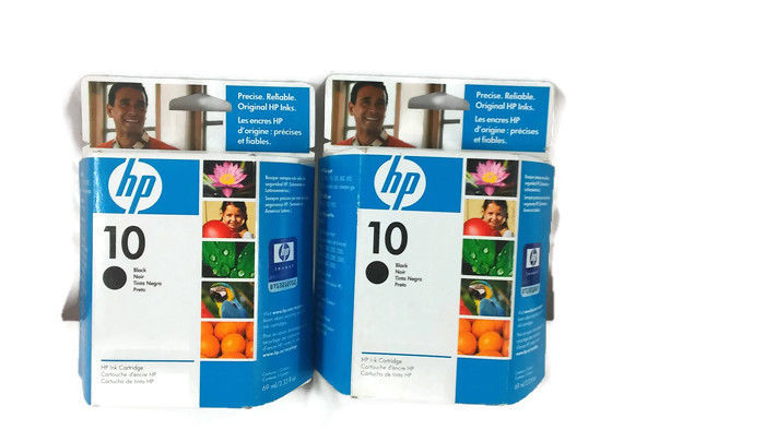 2010 (2) Genuine HP 10 Black Ink Cartridges C4844A