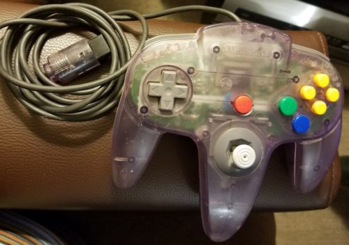 Official N64 Clear Atomic Purple Controller with 10/10 Joystick! TESTED Genuine