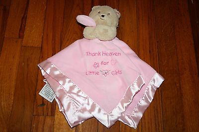 Okie Dokie Pink Thank Heaven For Little Girls Baby Bear Security Blanket Rattle