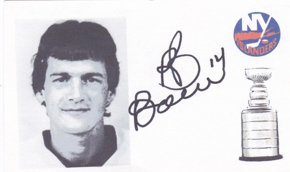 Bob Bourne New York Islanders signed index card