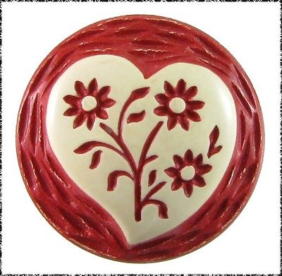 Small Vintage Painted & Buffed Button - Heart w/ Flowers on Red