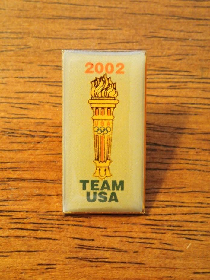 Salt Lake City Utah 2002 Winter Olympics Team USA Olympic Torch Lapel Hat Pin